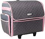 Everything Mary Deluxe - Estuche de almacenamiento para máquina de coser, color rosa y gris, con ruedas para Brother, Singer y Most Machines - Organizador para accesorios
