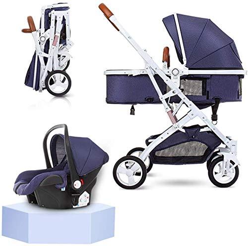 YZPTD 3 en 1 Cochecito Cochecito Cochecito Plegable Baby Strings Anti-Shock visión de Alta Vista Cochecito de bebé con Canasta para bebés para recién Nacido y bebé, Azul