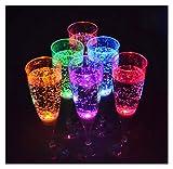 SET da 6 bicchieri LED Set di Bicchieri da prosecco luminosi Bicchieri per bere Bicchieri per Party 150 ml marchio PRECORN