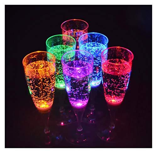 PRECORN 6 Stck LED Sektglas Set leuchtende Sektgläser beleuchtetes Party-Glas Trinkglas Geburtstag Silvester Hochzeit Einweihung Kunststoffglas 150 ml