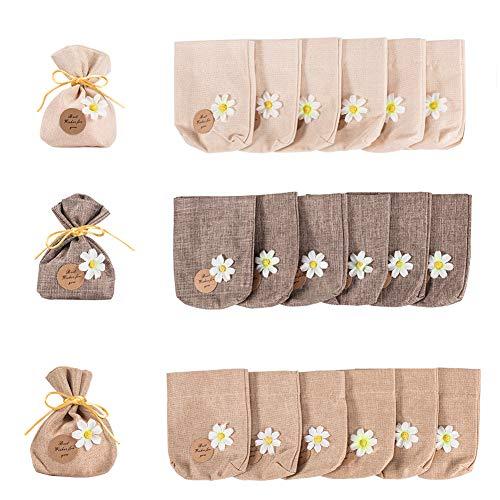 PandaHall 24 bolsas de algodón de 3 colores para decoración de flores, pequeñas bolsas con cordón para bodas, bautismos, fiestas, confeti, 14,5 x 11 cm