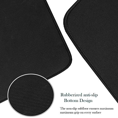 Mouse Pad, Large Gaming Mouse Pad with Double Stitched Edges, 14.9 x 11.7 inches Premium-Textured & Waterproof Mousepad, Nonslip Natural Rubber Base Mouse pad for Laptop,Computer, Office, Home, Black Photo #3
