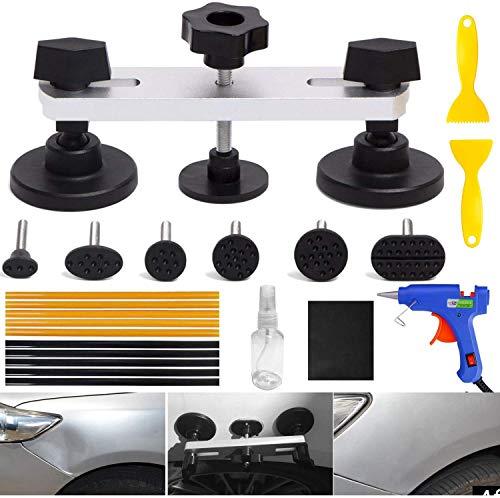 YOOHE 22PCS Auto Body Paintless Dent Removal Tools Kit Bridge Dent Puller Kits with Hot Melt Glue Gun and Glue Sticks
