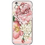 Funda de teléfono móvil compatible con iPhone 6S Plus, transparente, diseño de flores, funda de silicona, antigolpes, antidedos, suave carcasa de gel de sílice 6 Talla única