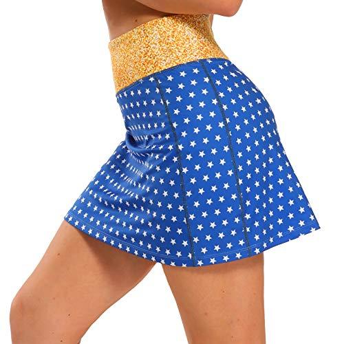 Ibeauti Womens Athletic Stretch Tennis Golf Skirts Skorts with Hidden Pockets Shorts Underneath Quick Dry (Yellow & Stars, Medium)