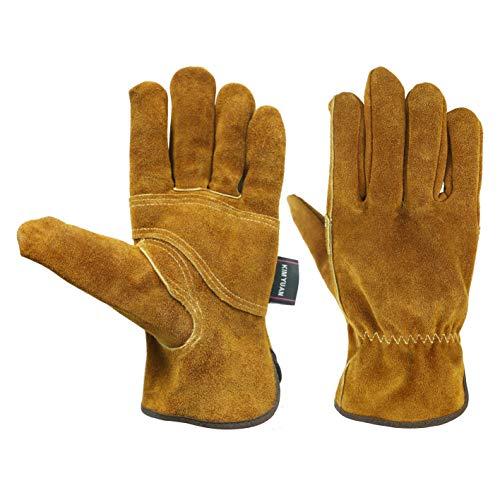 KIM YUAN Waterproof Leather Wrist Work Gloves Wear Resistant Puncture Resistant For Yard Gardening Farm Warehouse Building Men Women (L)