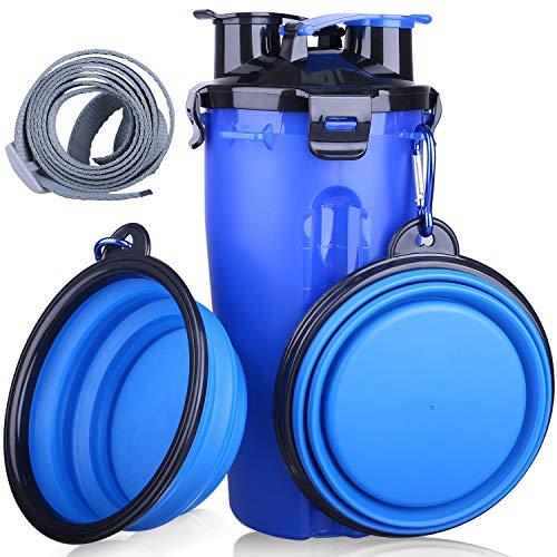 DEMESEX Hund Wasserflasche mit 2 Faltschüsseln,2 in1 Hunde Trinkflasche Wasser (350 ml) und Futter (250 g) Multifunktionale Wasserschale Hundetrinkflasche für unterwegs für Hunde und Katzen im Freien