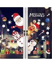 kungfu Mall Adhesivos de Ventana de Navidad Reutilizables Reno de Papá Noel Muñeco de Nieve Pegatinas de Pared Calcomanía de Ventana de PVC estático Decoración de Navidad Interior