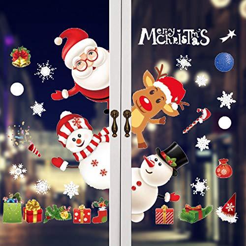 kungfu Mall Adhesivos de Ventana de Navidad Reutilizables Reno de Papá Noel Muñeco de Nieve Pegatinas de Pared Calcomanía...
