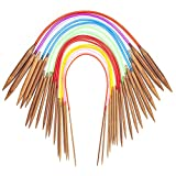 Bamboo Circular Knitting Needles 16 Inch, 18 Wooden Round Knitting Needles for Yarn with Colored Plastic Tube, 18 Sizes US 0-15 (2-10mm) Double Pointed Flexible Circular Knitting Needles for Beginner