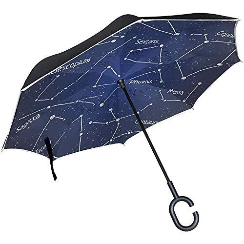 Mike-Shop Umgekehrter Regenschirm Autos Umkehrschirm Astronomie Sternbilder Winddicht UV-beständiger Regenschirm für Reisen im Freien