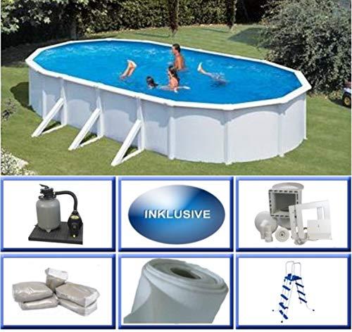 Summer Fun Stahlwandbecken Set Grandy oval 3,75m x 7,30m x 1,20m Folie 0,3mm Super Komplettset Pool Ovalpool / 375 x 730 x 120 cm Stahlwandpool