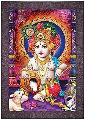 SAF UV Textured 'Krishna ji' (Kanha) Digital Reprint Painting (9.5 inches X 13.5 inches) SANFR714