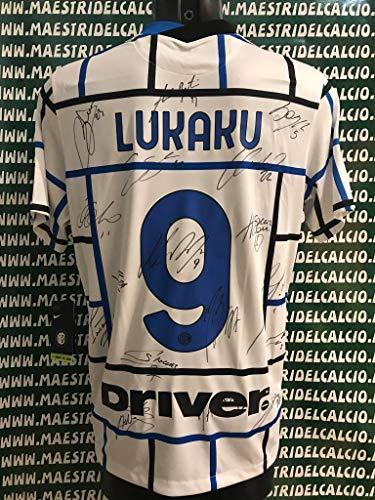 MAESTRI DEL CALCIO Maglia Gara Away Serie A LUKAKU 9' AUTOGRAFATA F.C. Inter 2020/2021 Firmata Firme Giocatori