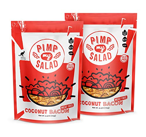 Coconut Bacon PIMP MY SALAD   Vegan Bacon Bits   Plant based bacon   Fakin' Bacon   Crispy Coconut with Smoky Bacon Flavor   Plant Based Protein   Keto   Gluten Free   Low Carb   2 Value Packs