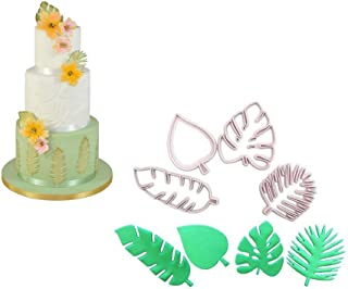 4Pcs Tropical Leaf Molds - Hawaiian Palm Leaves Cookie Cutter Set for Gum Paste, Sugarcraft Candy, Luau Cake Decorating