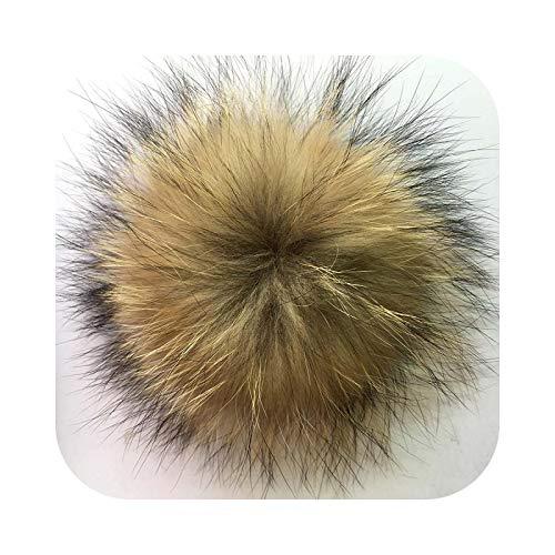 Pompón de piel sintética de 15 cm, color sólido y colorido, para mujer, niño, sombrero de invierno, gorra de 13 cm natural