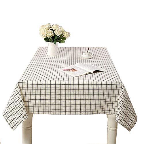 TOPIND Nappes en coton et lin - Style simple - Couleur unie - Nappe de salle à manger pour la maison, la cuisine, le café et rectangulaire - Blanc