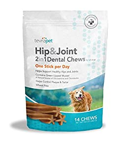 TevraPet Hip And Joint 2 in 1 Dental Chews 12,7 cm, 14 Conteggio