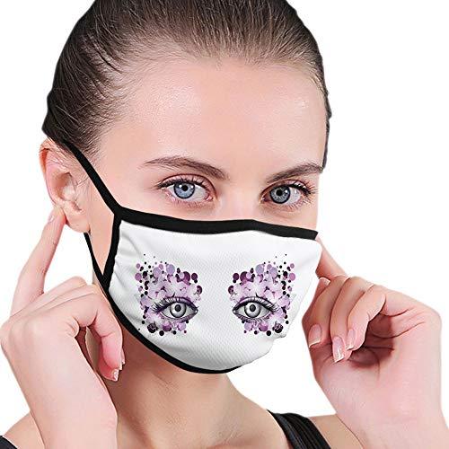 Cubierta facial cómoda a prueba de viento, aspecto fantasía con diseño abstracto floral de maquillaje, lunares violeta, flores de verano, decoraciones faciales impresas para personas