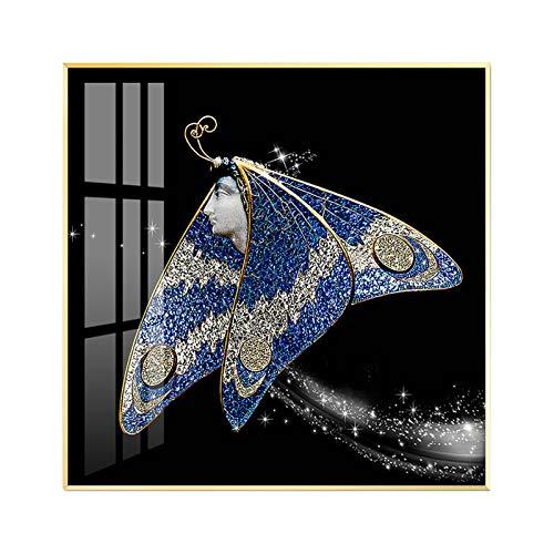 Fotomural Vinilo para Pared, Azul Mariposa Diamante Porcelana Cristal Pintura,montado en la pared Decorar El cuarto Pintura mural,Impermeable A prueba de humedad Caracteristicas,Con marco