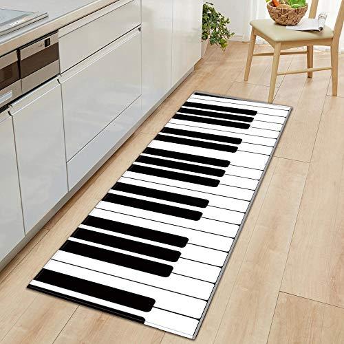 Radiancy Inc keukentapijten matten zacht flanel zwart en wit piano sleutels wasbaar non-slip gel rug vloerbedekking tapijt