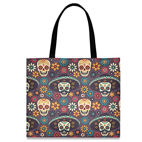 ZzWwR Chic Sugar Skulls Floral Large Canvas Gym Shoulder Tote Bag Lightweight Durable Travel Handbags for School Beach Weekender Pool Hiking Yoga Nurse