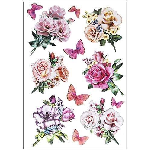 Stickerbogen 3-D Relief-Sticker | Hochwertig geprägt mit 3-D-Effekt | Din A4 Bogen mit verschiedenen Motiven (Blumen in Pastell)