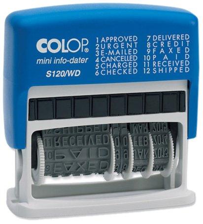 Colop S120/WD Dial-A-Phrase-Dater Stempel Zelfinkende 12 Zinnen Imprint 43x4mm Rood/Blauw Ref 14531000