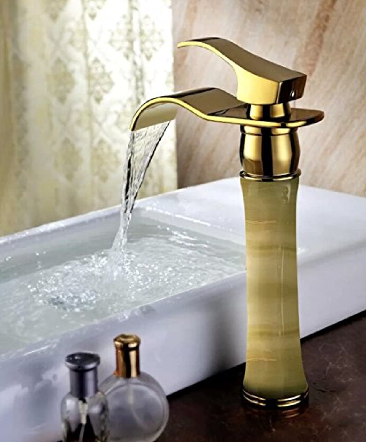 SUHANG All Copper Continental gold Basin Faucet Marble Waterfall Natural Jade Faucetc