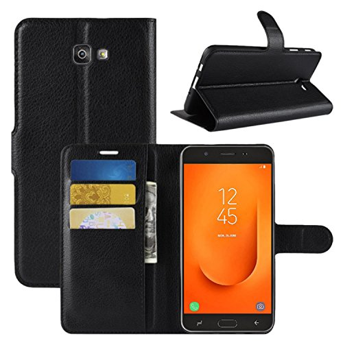 HualuBro Funda Galaxy J7 Prime 2, Premium PU Cuero Leather Billetera Wallet Carcasa Flip Case Cover para Samsung Galaxy J7 Prime 2 2018 Smartphone (Negro)