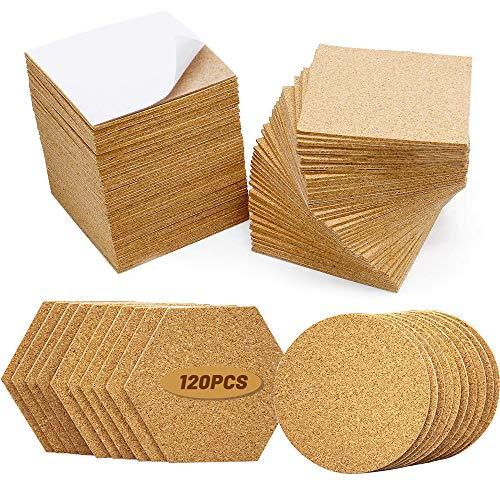120Pcs Self Adhesive Cork Squares Round Hexagon, 4 x 4 Inch Strong Cork Adhesive Sheets, Reusable Cork Board Cork Backing Sheets, Mini Wall Cork Tiles Mat for Coasters and DIY Crafts
