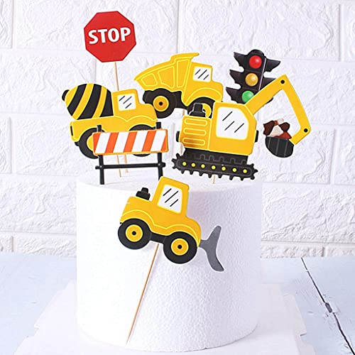 Ouceanwin 35 Stück Baufahrzeug Cupcake Topper Tortendeko Auto Bagger Kuchendeko Trakto Cake Torten Muffin Decoration, Picks Geburstagstorte Deko für Baby Jungen Kinder Geburtstag