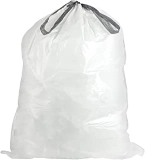 Plasticplace Custom Fit Trash Bags │ Simplehuman Code N Compatible (50 Count) │ White Drawstring Garbage Liners 12-13 Gall...