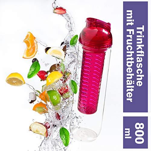 Trinkflasche Frutto für Fruchtschorlen 800 ml BPA-Frei Drink Bottle Watter Bottle Tritan Wasserflasche (Brombeere/transparent)