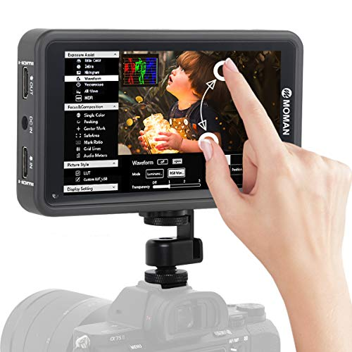 Moman M5 Monitor DSLR Touchscreen 5.5 Pulgadas 4K HDMI 450nits, Monitor de Campo de Pantalla Táctil 1920 * 1080 Full HD con 3D LUTs/HDR, Monitor Refléx Compatible para Canon, Nikon, Sony, Panasonic