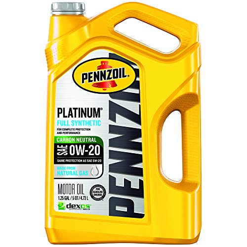 Pennzoil 550046127 Platinum Full Synthetic Motor Oil (SAE, SN) 0W-20, 5 Quart - Pack of 1