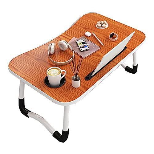 HYYYH Mesa de Cama Plegable para portátil Escritorio de Regazo con portavasos para Ver películas en la Cama, desayunar, sofá, Piso (Color : A, Size : 60 * 40 * 28cm)