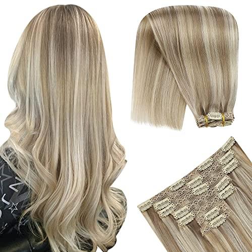 YoungSee Hair Extensions Clip in Blond Strähnchen Doppelt Tressen Haarextension Echthaar Clips Dunkel Aschblond mit Goldblond Voller Kopf Clip in Extensions Echthaar 7pcs 100g 35cm