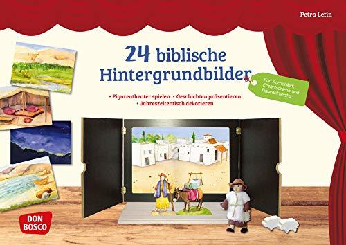 24 biblische Hintergrundbilder. Figurentheater spielen. Geschichten präsentieren. Jahreszeitentisch dekorieren. Für Kamishibai, Erzählschiene und ... (Zubehör für das Erzähltheater Kamishibai)