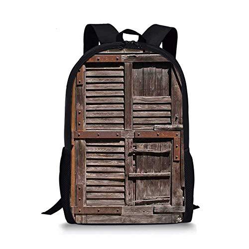 AOOEDM Backpack - Mochila Escolar con Estilo rústico, Estilo de región estructurada de Puerta de cabaña de Campo Italiano de Madera Vintage para niños, 11 'L x 5' W x 17 'H