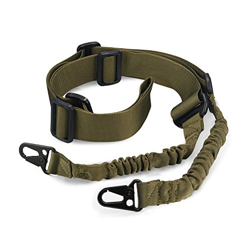 Accmor 2 Point Sling, Two Point Traditional Sling Standard Strap with Metal Hook for Outdoor Sports (Green)