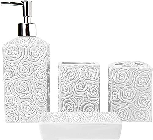 Set di accessori per il bagno - 4 forni Set da bagno in ceramica con dispenser per sapone liquido o lozione, portaspazzolino, bicchiere e portasapone - Set decorativo con dettagli in rilievo