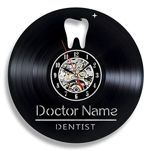 BFMBCHDJ Zähne Vinyl Rekord Wanduhr Modernes Design Zahnarztpraxis Wandschild 3D dekorative Vinyl Uhr Wanduhr Geschenke für Zahnarzt