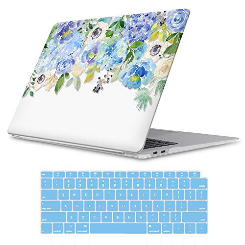 """iLeadon MacBook Air 13 Inch Case 2020 2019 2018 Release A2179 A1932, Soft Touch Ultra Thin Hard Shell Cover for Apple Newest MacBook Air 13"""" with Retina Display fits Touch ID, Blue Watercolor Flower"""