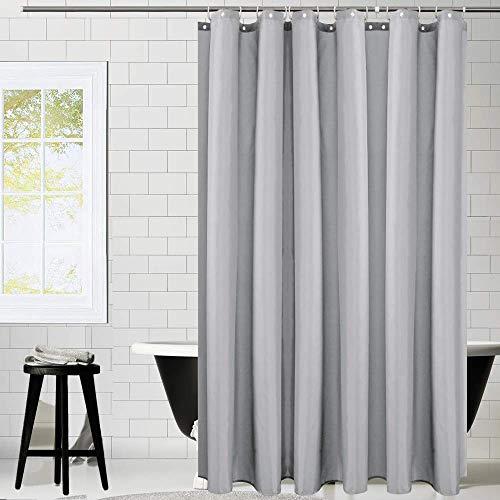 KIPIDA Duschvorhang Textil, Anti-Schimmel, Wasserdichter, Waschbar Anti-Bakteriell Stoff Polyester Badewanne Vorhang mit 8 Duschvorhängeringen, 180x200cm, Grau