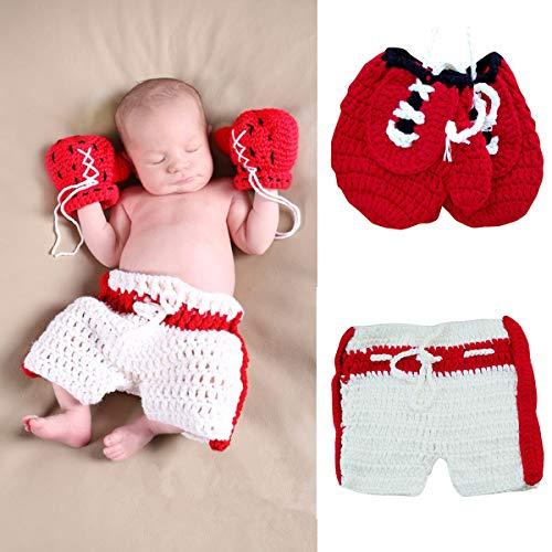 Tianhaik Accesorios de fotografía para bebé recién nacido, ropa de punto de ganchillo, guantes de boxeo para bebés de 0 a 3 meses (rojo)