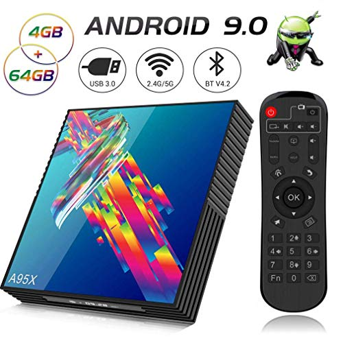 A95X R3 Android 9.0 TV Box, 【4GB RAM 64GB ROM】 Smart TV Box with RK3318 Quad-Core 64bit CPU Supports 2.4G/5G Dual WiFi 3D 4K Ultra HD H.265 USB3.0 BT4.2