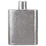 Choolife 5.4Oz S999 Sterling Silver Hip Flasks Handmade Hammered Pocket Pure Flat Flasks Vintage Alcohol Spirits Flasks Portable Outdoor Wine Bottle Creative Personality Customized Gift
