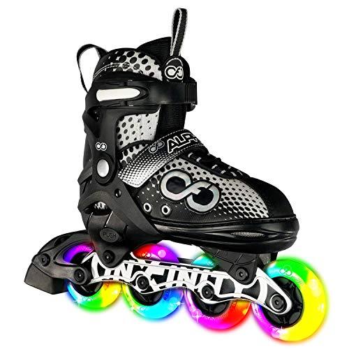 Crazy Skates Alpha verstellbare Inlineskates mit Leuchtrollen – erhältlich in zwei Farben – Schwarz/Weiß (Größe: L | US Herren 5–8 | US Damen 5–8 | EU 38–41)